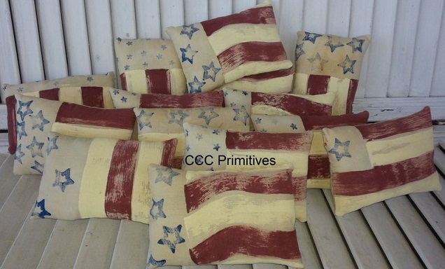 America Hand Painted Pillow