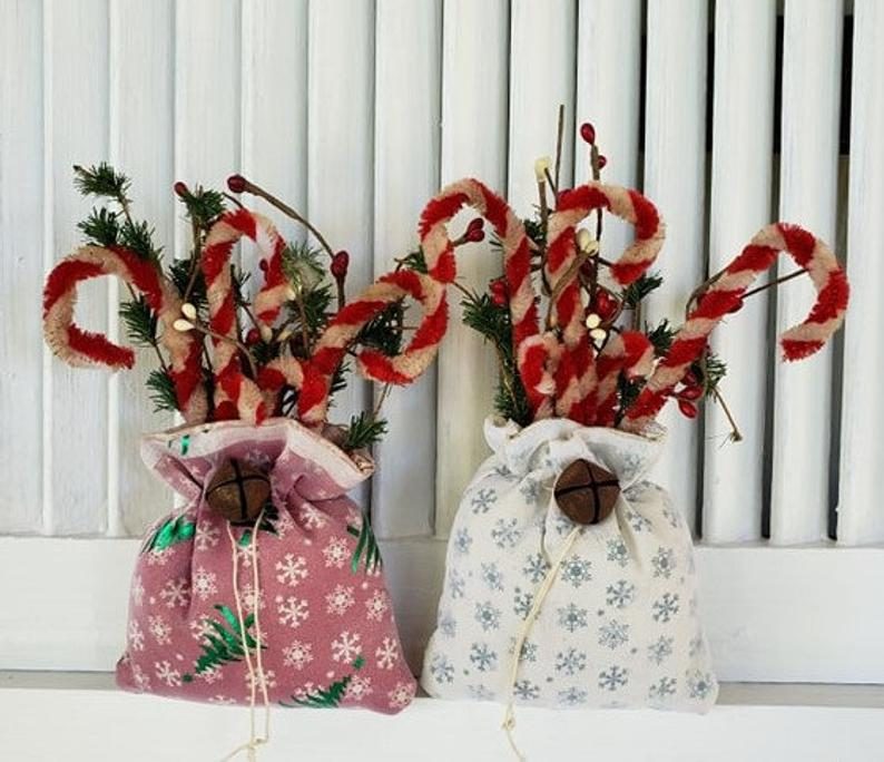 Chenille Candy Cane Ornament Bags