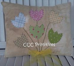 Embroidered Tulip Pillow