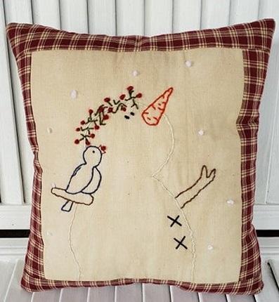 Homespun Snowman and Bird Pillow