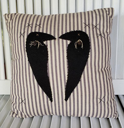 Kissing Crow Pillow