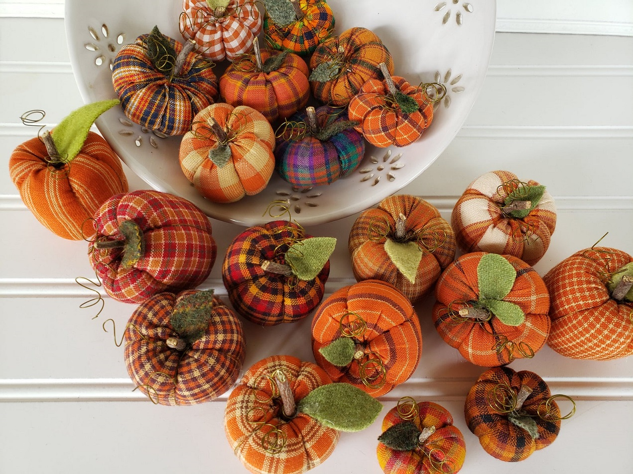 Mini Homespun Pumpkins