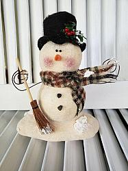 Primitive Clay Snowman