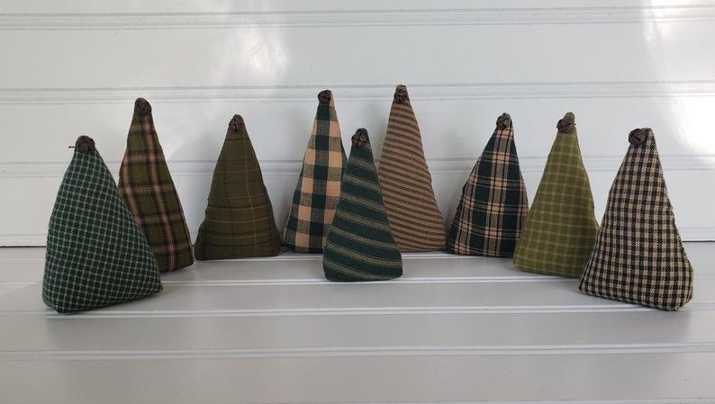 Green Homespun Christmas Trees