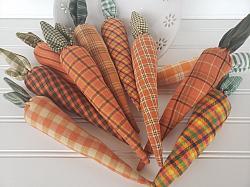 Homespun Fabric Carrots 8 inch