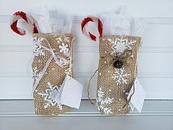 Burlap Snowflake Holiday Bag