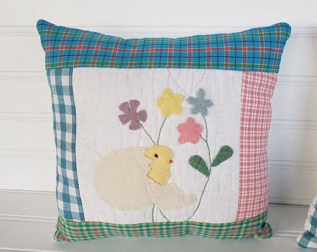 Spring Chick & Flowers Pillow