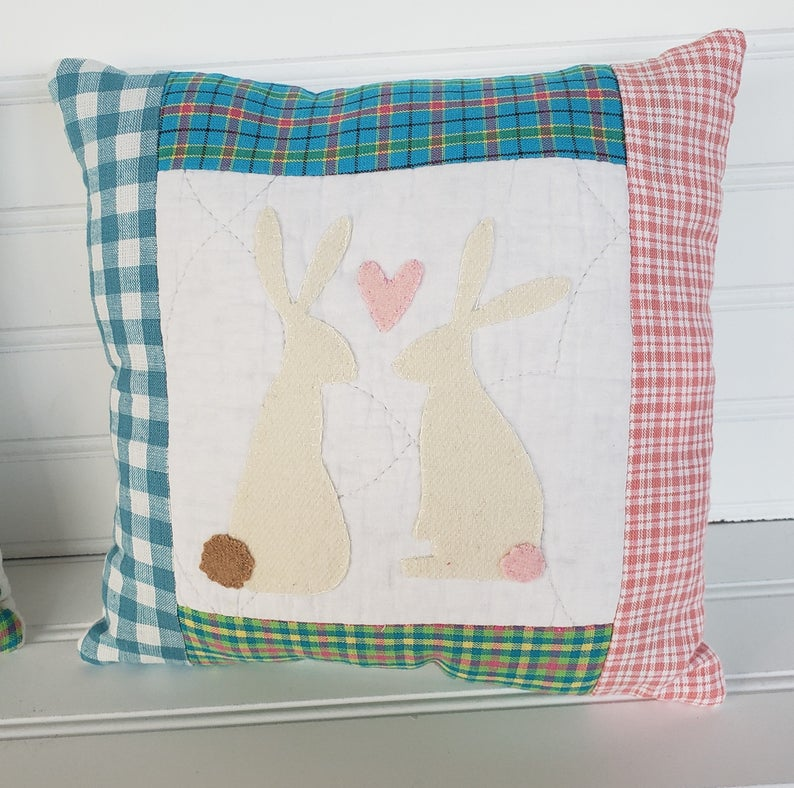 Wool Spring Cream Bunny Pillow